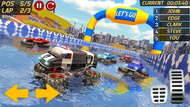警察怪物卡车歹徒追水冲浪游戏图2