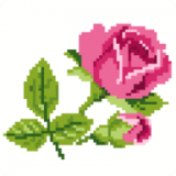 玫瑰花像素艺术